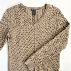 Ann Taylor cable knit sweater with V-neck